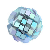 3d abstract cube ball shape in blue purple. On white Royalty Free Stock Photo