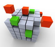 3d abstract cubes. Structure, Concept of team work, construction, creation etc Royalty Free Stock Photo