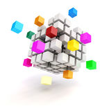3d abstract cubes. On white background Royalty Free Stock Images
