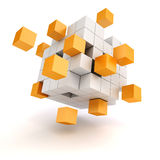 3d abstract cubes. On white background Stock Photography