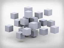 3d abstract cubes design. 3d illustration of abstract structure cubes construction design Royalty Free Stock Images