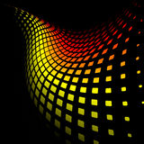3d abstract dynamic yellow and red background. On black Stock Photos