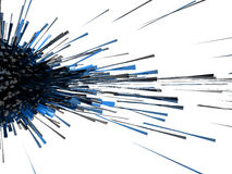 3d abstract explosion blue. Black cube light effect Royalty Free Stock Photos