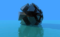 3D Abstract figure. On the blue water with ripples Stock Photography