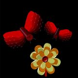 3D Abstract of Flower and Fly. Flower and Fly in an Abstract Crisp 3D perfectly cutout on a Black Background Stock Images