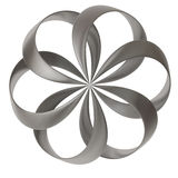 3d abstract flower shape. 3d abstract geometrical shape - silver flower icon Stock Photography