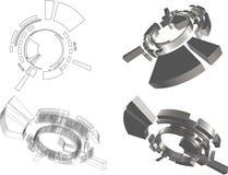 3D abstract futuristisch voorwerp vector illustratie
