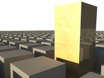 3D Abstract Golden Cubes Stock Images