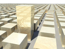 3D Abstract Golden Cubes Royalty Free Stock Photography