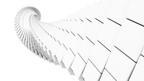 3d abstract  helix made of white chamfer boxes. 3d abstract background illustration with helix made of white chamfer boxes Stock Image