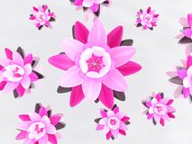 3d abstract lotus. 3d rendered illustration of pink lotus flowers Stock Photo