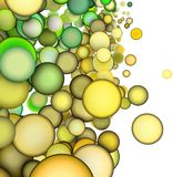 3d abstract multiple green yellow bubble Stock Photos