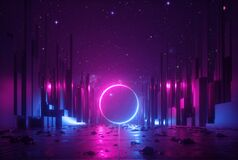 Free 3d Abstract Neon Background, Cyber Space Virtual Reality Urban Scene, Glowing Round Shape Portal At The End Of The Street, Royalty Free Stock Photography - 183795347