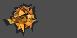 3d abstract orange spiked electric shape Royalty Free Stock Images