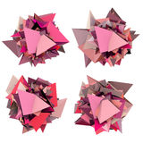 3d abstract pink spiked shape on white Stock Photo