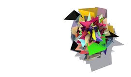 3d abstract rainbow colored spiked electric shape Stock Photos