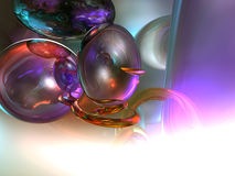 3d Abstract Render Spheres White Background. 3d Abstract Spheres Render in a White and purple Background Royalty Free Stock Images