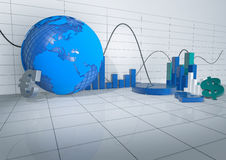 3d Abstract Room with Economy Releated Objects Stock Photography