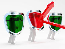 3d abstract security persons with shields. On white background Royalty Free Stock Photography