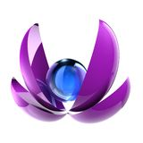 3D abstract shapes. Abstract 3D blue sphere and violet parts of sphere Royalty Free Stock Image