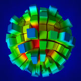 3d abstract sphere. Abstract 3d image of bars on a sphere Stock Images