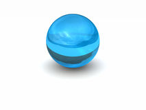 3d abstract sphere. 3d glass and blue abstract sphere Stock Photography