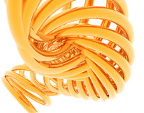 3D Abstract Spiral. 3D abstract render of gold spiral isolated on white background Royalty Free Stock Image