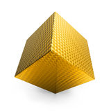 3d abstract swirled gold cube Stock Images