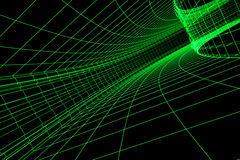 3D abstract tunnel. 3D abstract green tunnel. Conception Traffic and Speed Stock Image