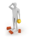 3D abstract white builder tired. And holding yellow helmet in a hand Stock Photography