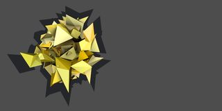 3d abstract yellow spiked electric shape Stock Photos