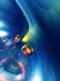 3D Abstracte Blauwe Gele Glanzende Kleurrijke Glanzend Stock Fotografie