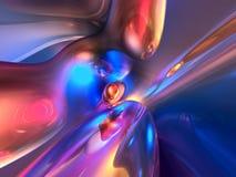 3D Abstracte Blauwe Roze Glanzende Kleurrijke Glanzend geeft terug Stock Fotografie