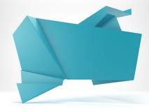 3d abstracte glanzende blauwe bel van de origamitoespraak royalty-vrije illustratie