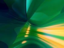 3D Abstracte Lijnen kleuren Groene Gele Achtergrond Stock Afbeelding
