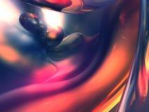 3D Abstracte Purpere Oranje Glanzende Kleur geeft terug Stock Foto's