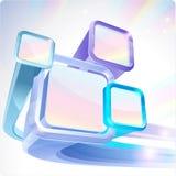 3d abstracte vliegende monitors. Royalty-vrije Stock Afbeeldingen