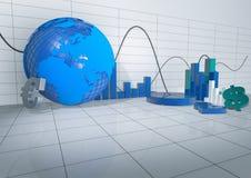 3d Abstracte Zaal met de Voorwerpen van Releated van de Economie Stock Fotografie