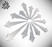 3d abstracto que señala flechas Imagen de archivo