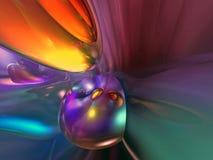 3D abstraktes purpurrotes gelb-orangees buntes Wallpape Lizenzfreies Stockfoto