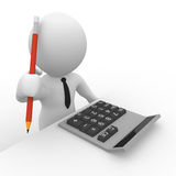 3D accountant with calculator and pencil Stock Image