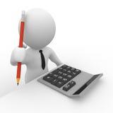 3D accountant met calculator en potlood Stock Afbeelding