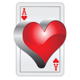 3D Ace of hearts. Vector EPS Royalty Free Stock Images