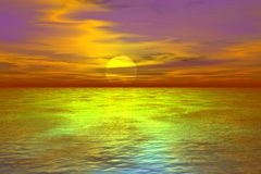 3D Achtergrond van de Zonsondergang Stock Foto's