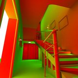 3D acid interior of apartment. 3D acid modern interior of a private apartment, in bright orange and greens Royalty Free Stock Photography