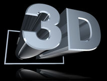 3D ad angolo ha riflesso sul nero Fotografia Stock Libera da Diritti