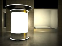 3d advertising column and glass showcase Stock Photo