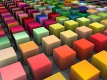 3d afgeschuinde kubussen in veelvoudige heldere kleuren Stock Afbeeldingen