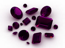 3D African amethyst gemstones royalty free stock photography