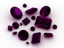 3D African amethyst gemstones